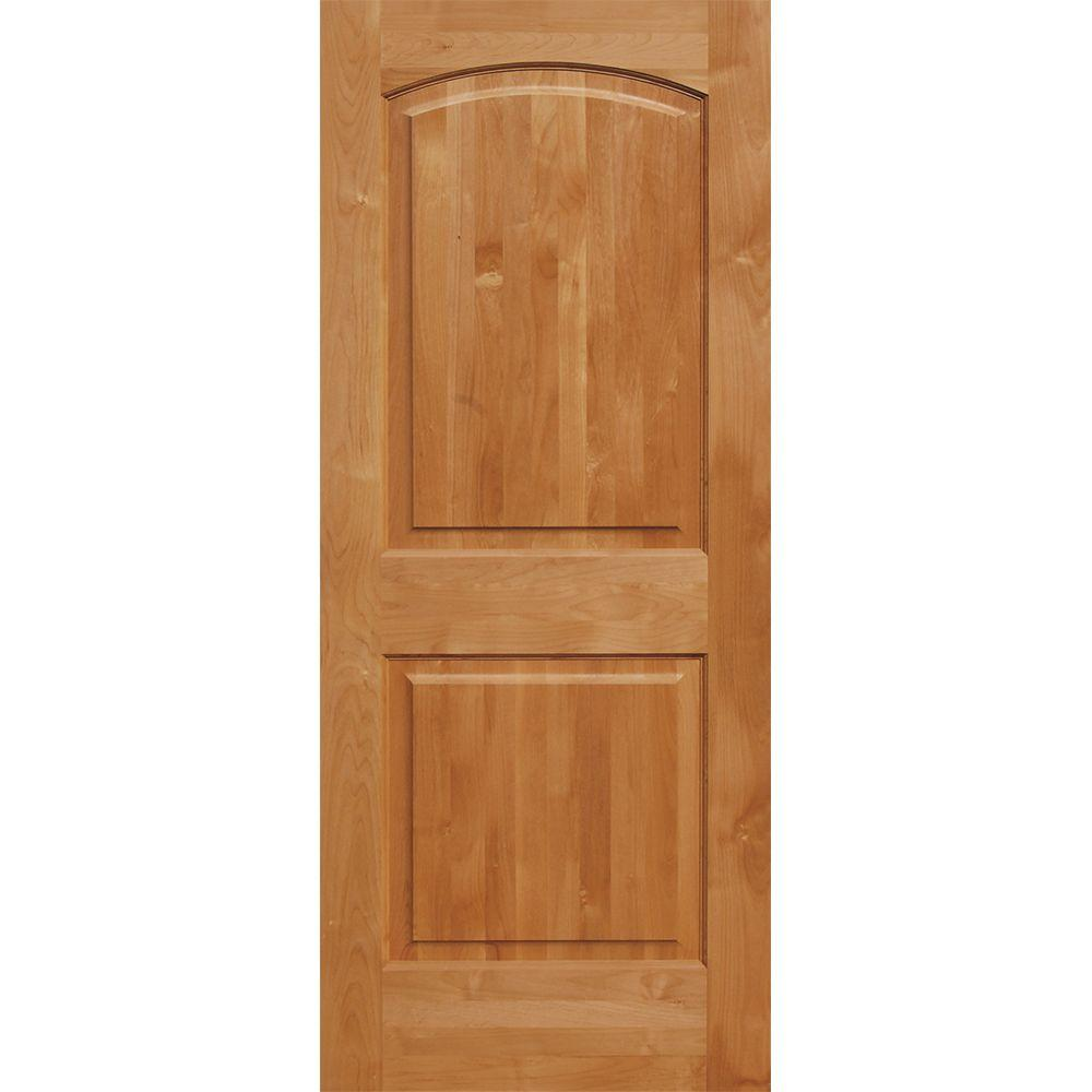 Krosswood doors 30 in x 96 in superior alder 2 panel top rail arch solid core left hand wood for Solid wood panel interior doors