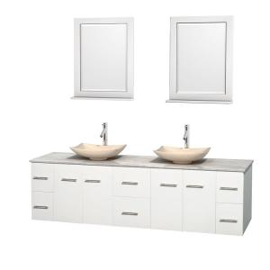 Wyndham Collection Centra 80 inch Double Vanity in White with Marble Vanity Top in Carrara White, Ivory Marble Sinks and... by Wyndham Collection
