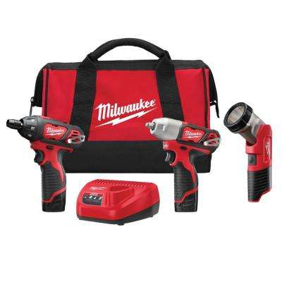 M12 12-Volt Lithium-Ion Cordless Impact Wrench/Screwdriver/Light Combo Kit (3-Tool)