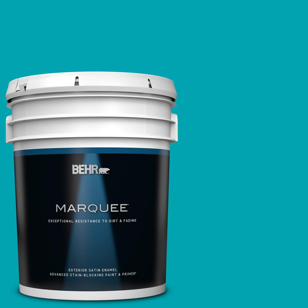 Behr Marquee 5 Gal 510b 6 Blue Jewel Satin Enamel Exterior Paint And Primer In One 945305 The Home Depot