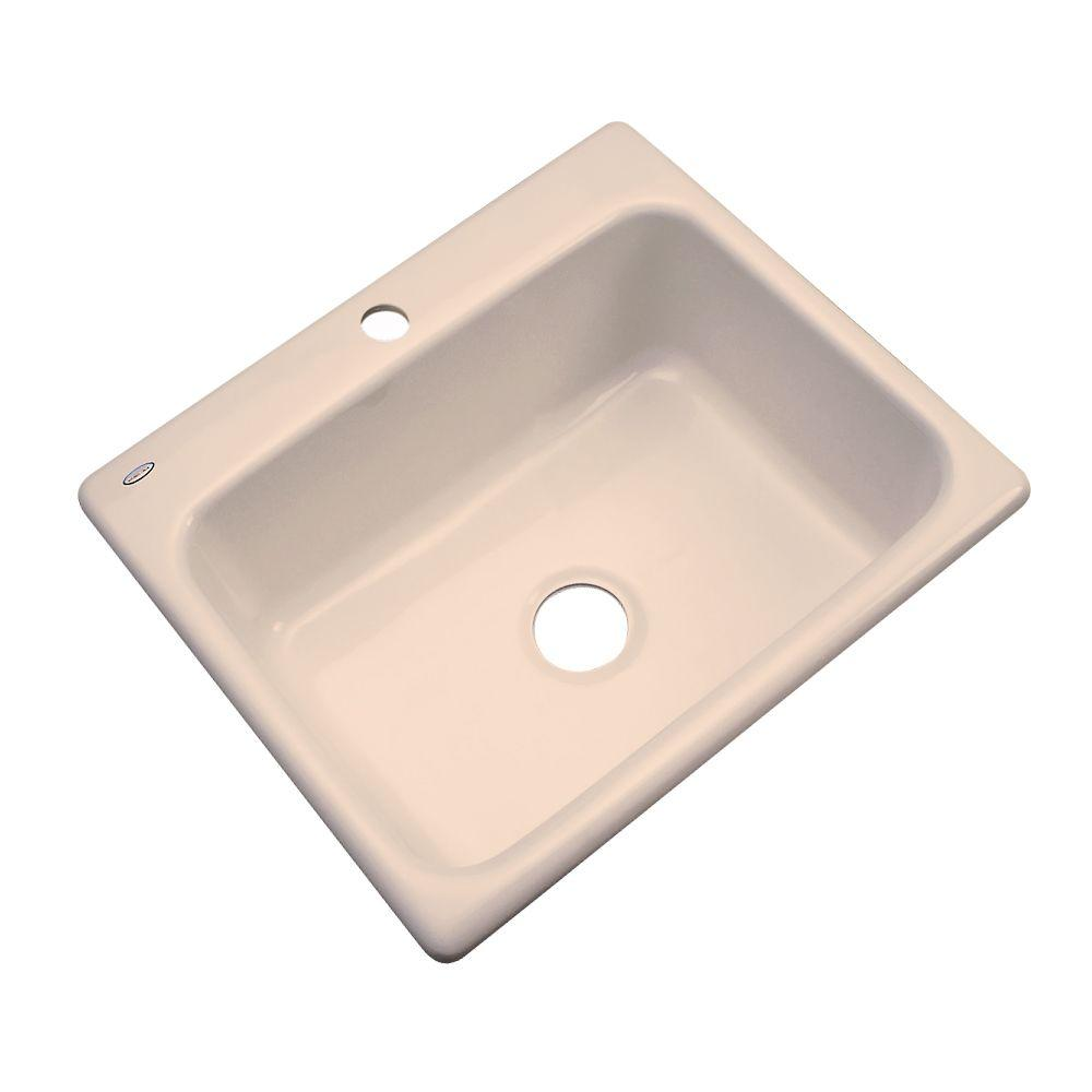 Inverness Drop-In Acrylic 25 in. 1-Hole Single Bowl Kitchen Sink in Peach Bisque