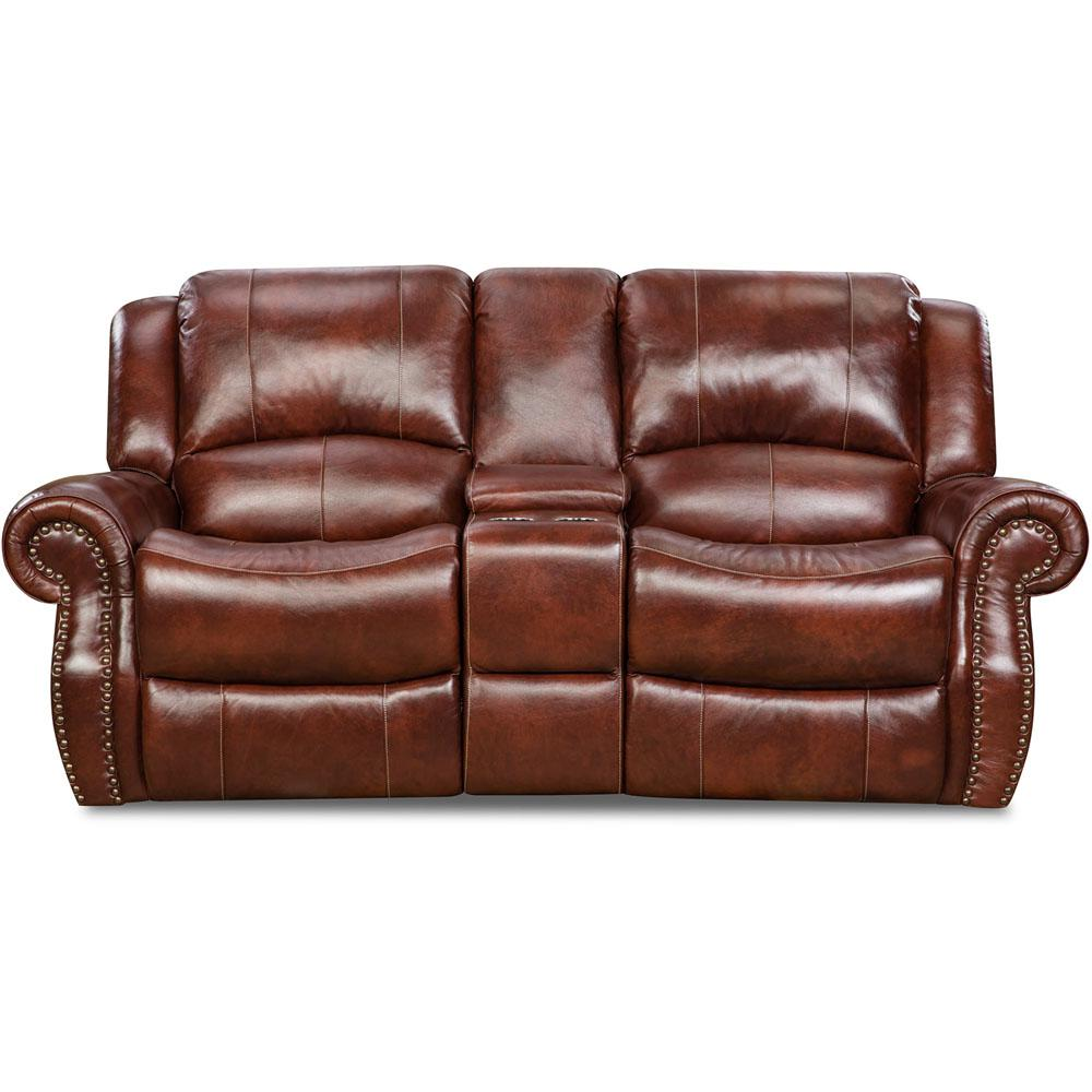 Oxblood Telluride Leather Double Reclining Loveseat
