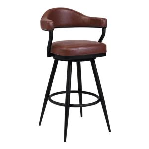 Amador 30 in. Bar Height Bar Stool in a Black Powder Coated Finish and Vintage Coffee Faux Leather
