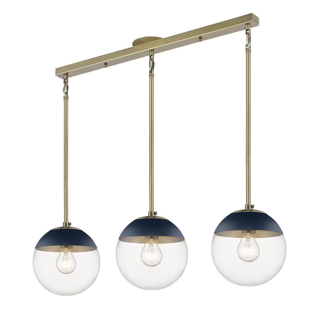 Golden Lighting Dixon 3-Light Linear Pendant in Aged Brass with Clear Glass and Navy Cap