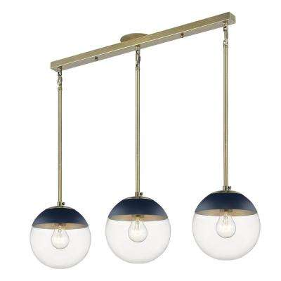 Dixon 3-Light Linear Pendant in Aged Brass with Clear Glass and Navy Cap