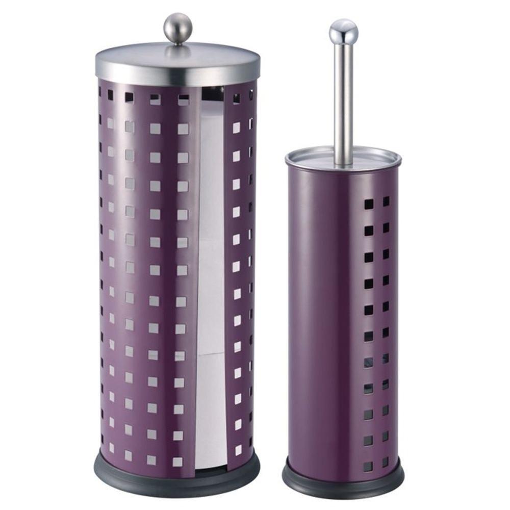 Toilet Brush Holder and Toilet Paper Holder Set in Purple