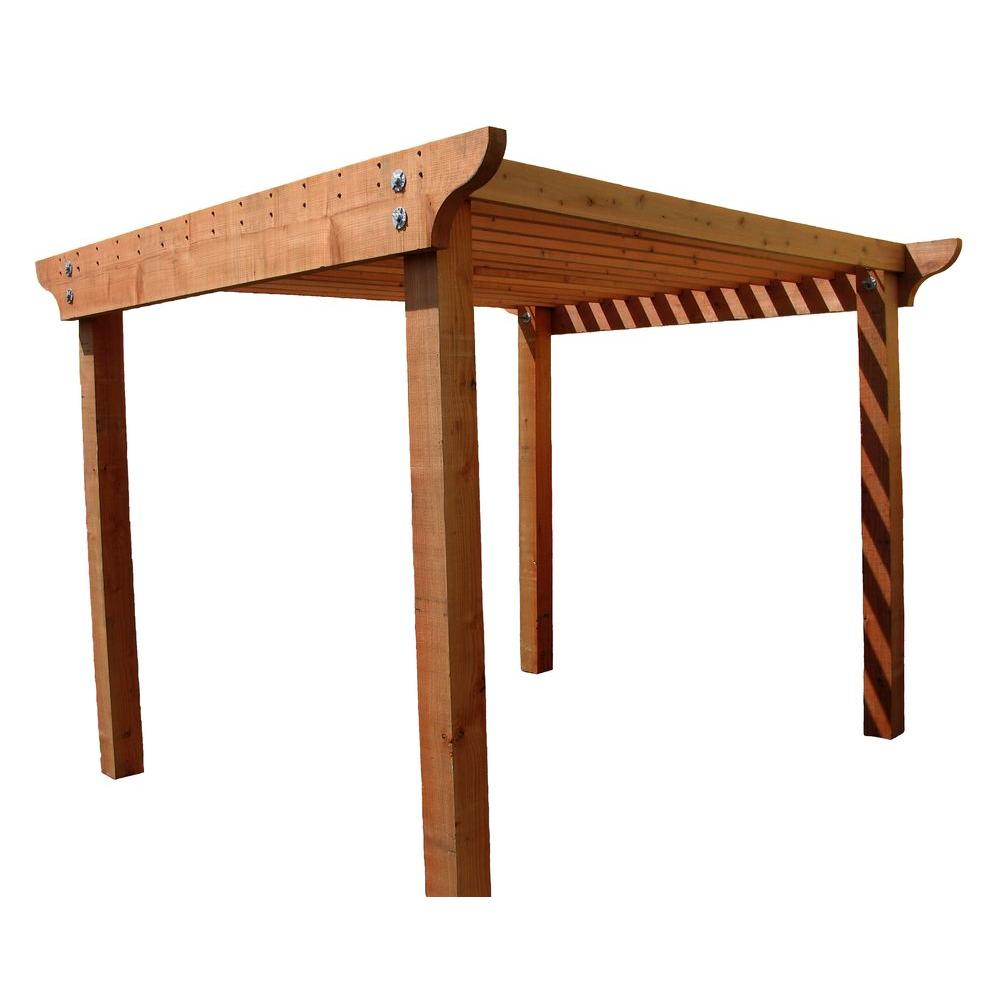 Mendocino Forest Products Redwood 8 Ft X Construction Heart Notched Pergola Kit With 3 In 12 Header Rails 16712