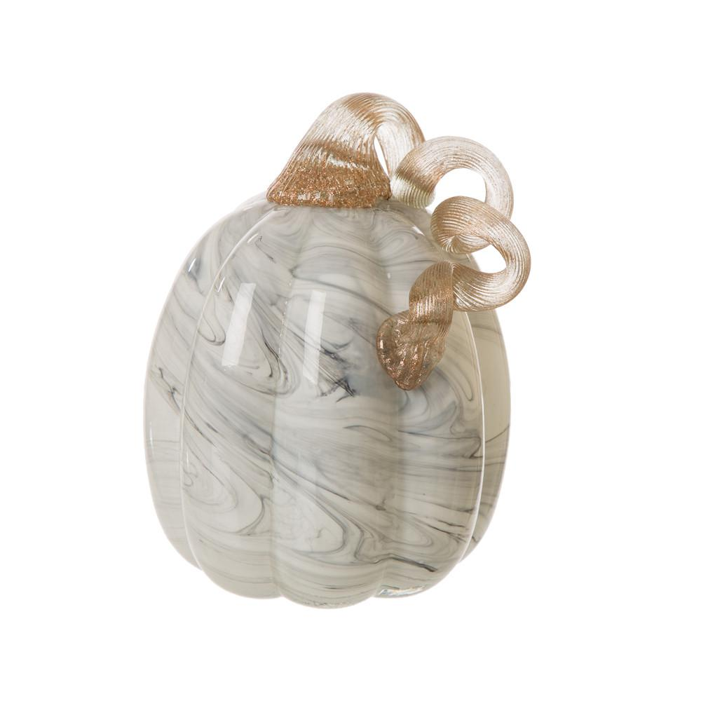 Glitzhome 5.71 in. H Gray Marble Tall Glass Pumpkin