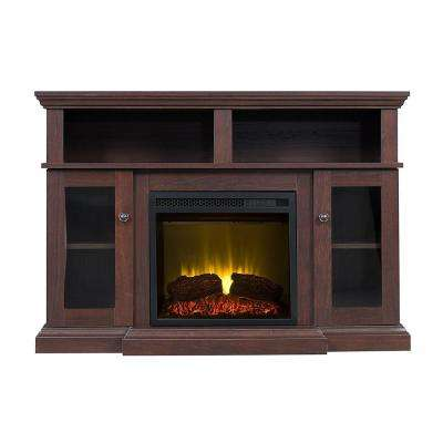 Poliuven 46 in. Electric Fireplace TV Stand in Warm Walnut
