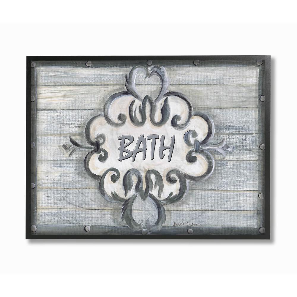16 In X 20 In Bath Grey Bead Board With Scroll Plaque Bathroom By Bonnie Wrublesky Wood Framed Wall Art
