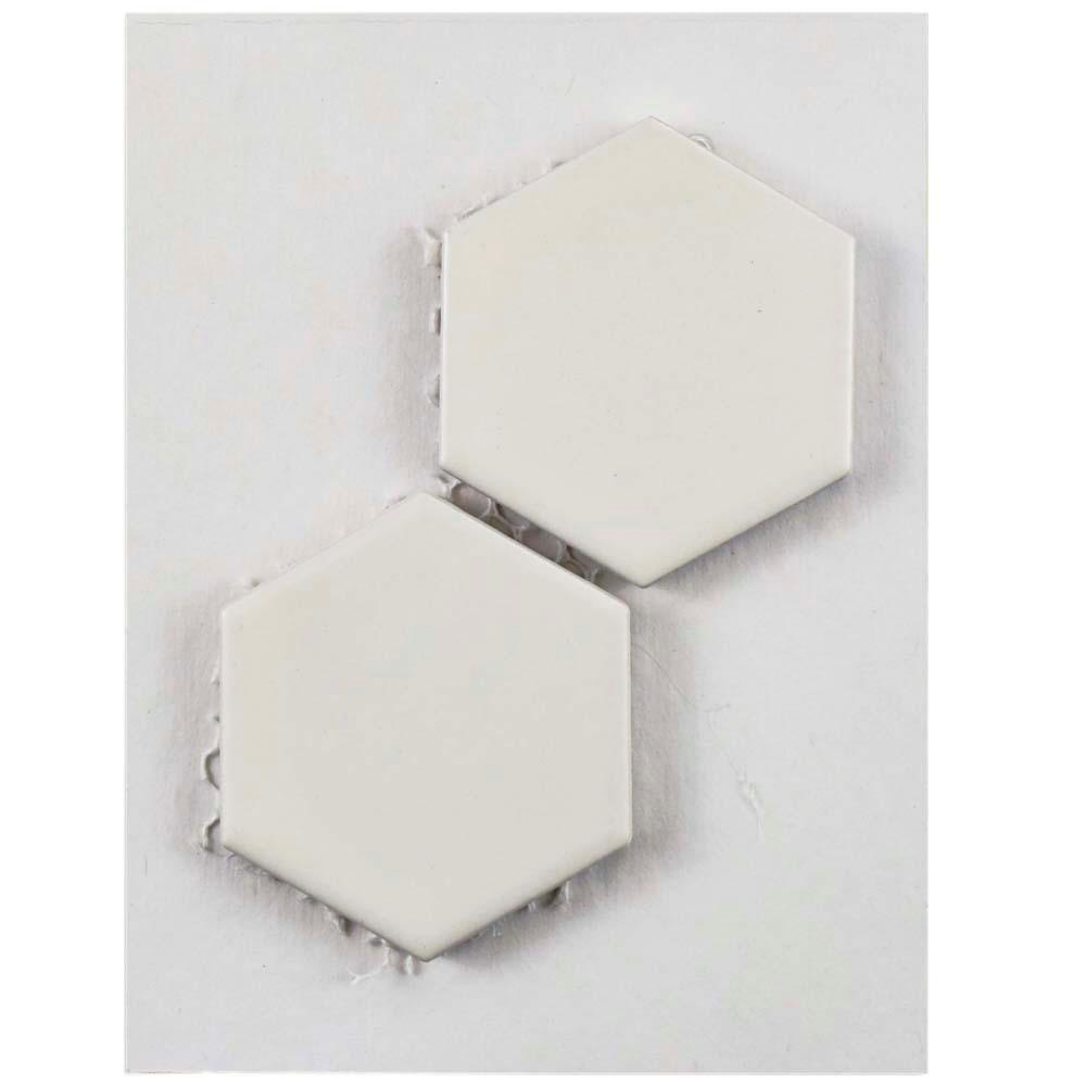 Metro Hex 2 in. Matte White Porcelain Mosaic Tile - 3 in. x 4 in. Tile Sample