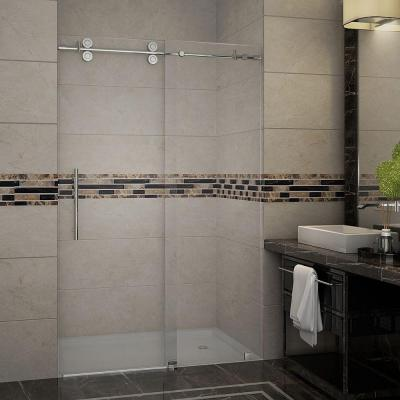 Langham 48 in. x 75 in. Completely Frameless Sliding Shower Door in Stainless Steel with Clear Glass