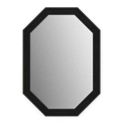 33 in. x 46 in. (L3) Octagonal Framed Mirror with Deluxe Glass and Flush Mount Hardware in Matte Black