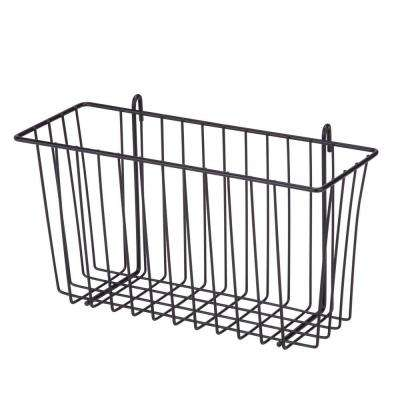13.39 in. x 7.6 in. Shelf Accessory Storage Basket in Black