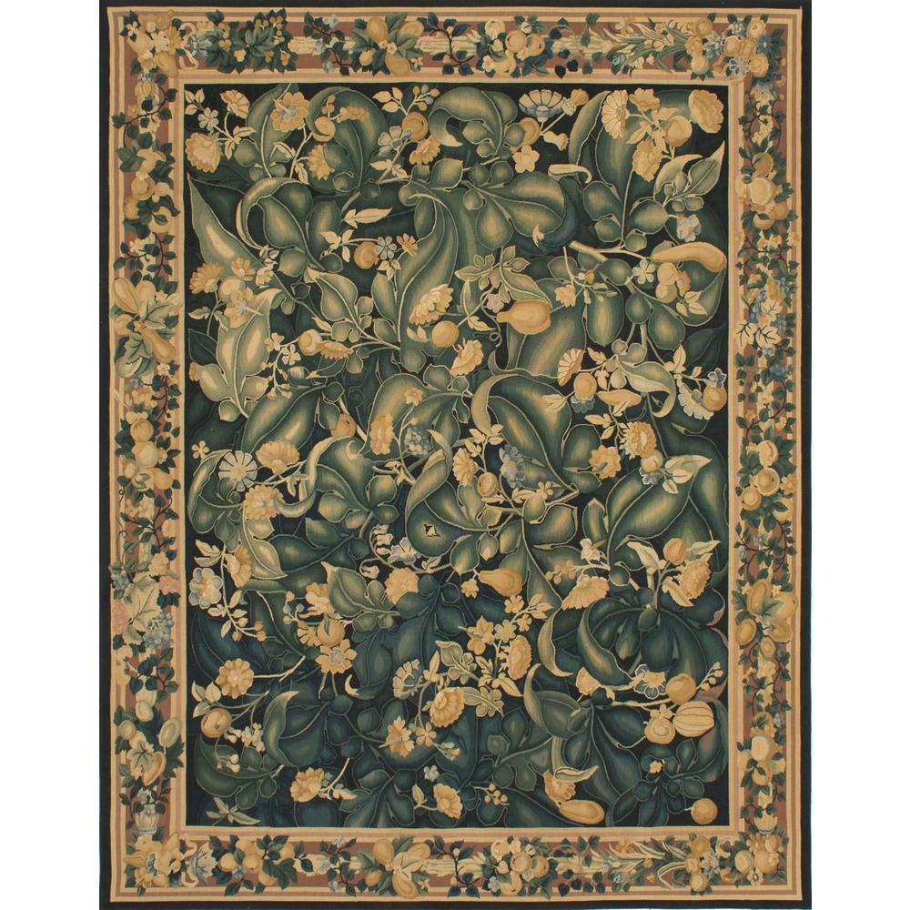 Ecarpet Gallery French Tapestry Black Dark Green Wool