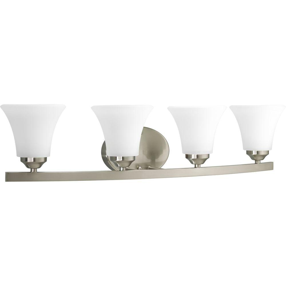 Adorn Collection 4-Light Brushed Nickel Bathroom Vanity Light with Glass Shades