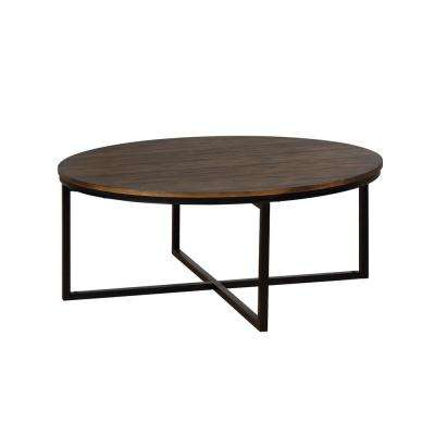Arcadia Antiqued Mocha Acacia Wood 42 in. Round Coffee Table