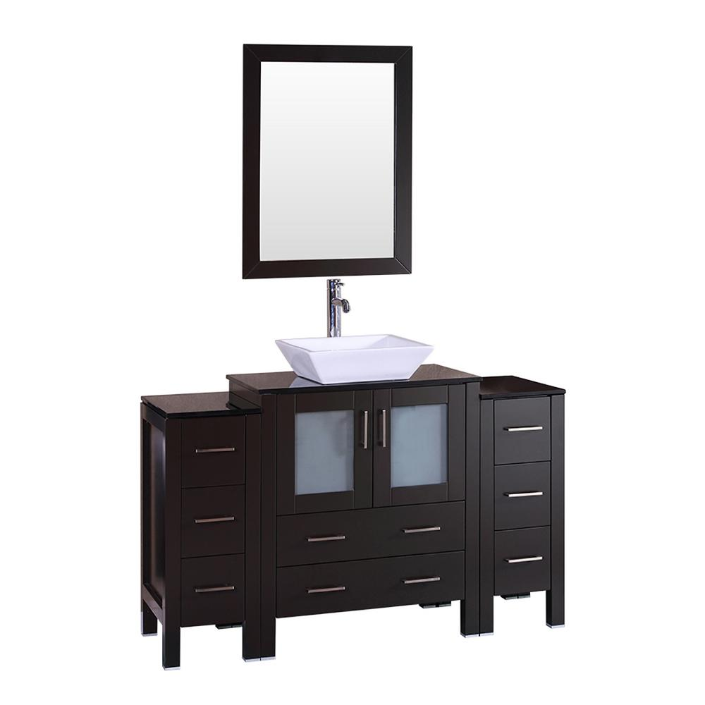 Bosconi 54 in. W Single Bath Vanity with Tempered Glass Vanity Top in Black with White Basin and Mirror