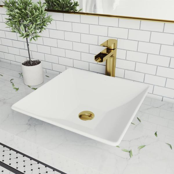 Vigo Matte Stone Hibiscus Composite Square Vessel Bathroom Sink In White With Amada Faucet And Pop Up Drain In Matte Gold Vgt1473 The Home Depot