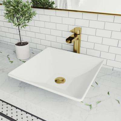 Hibiscus Matte Stone Vessel Bathroom Sink in White with Amada Faucet in Matte Gold