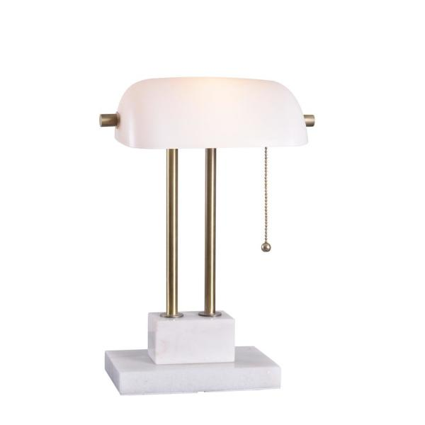 Symphony 15 in. Antique Brass Desk Lamp with White Shade