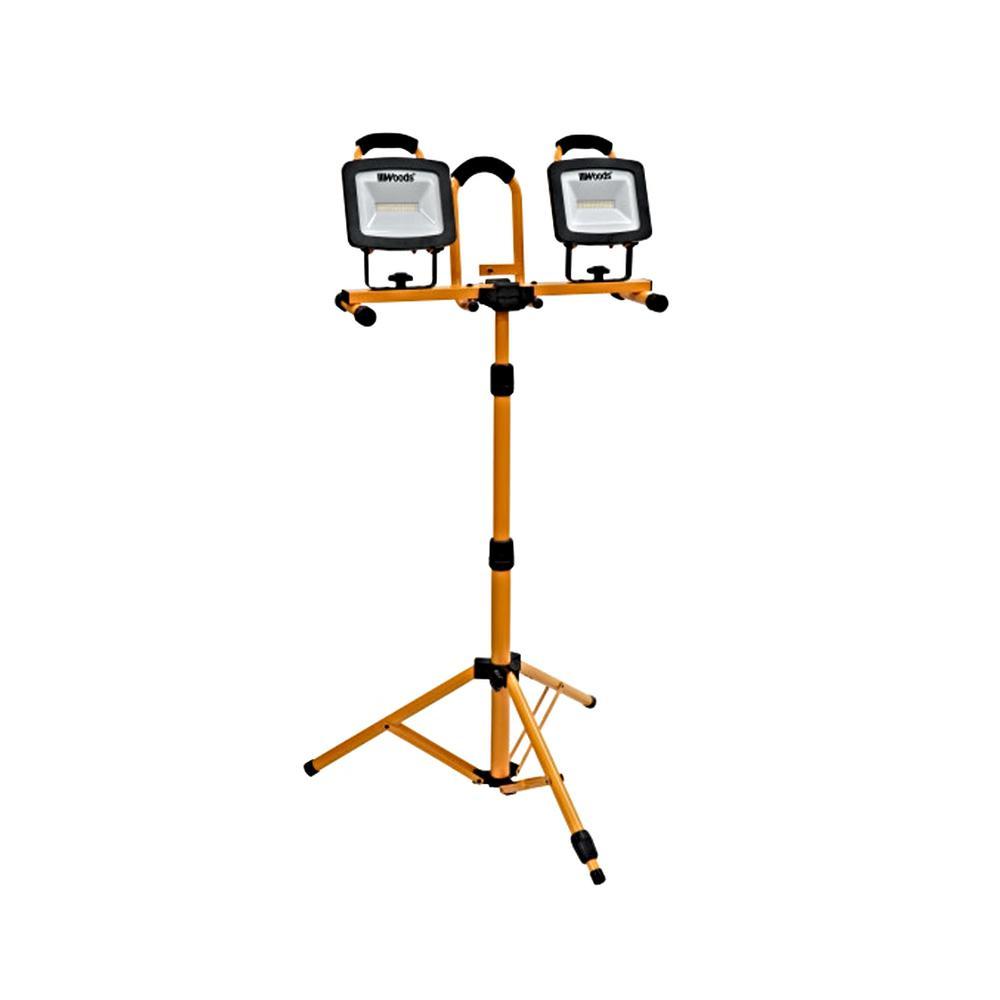 6000-Lumen Portable LED Dual Head Work Light with Tripod