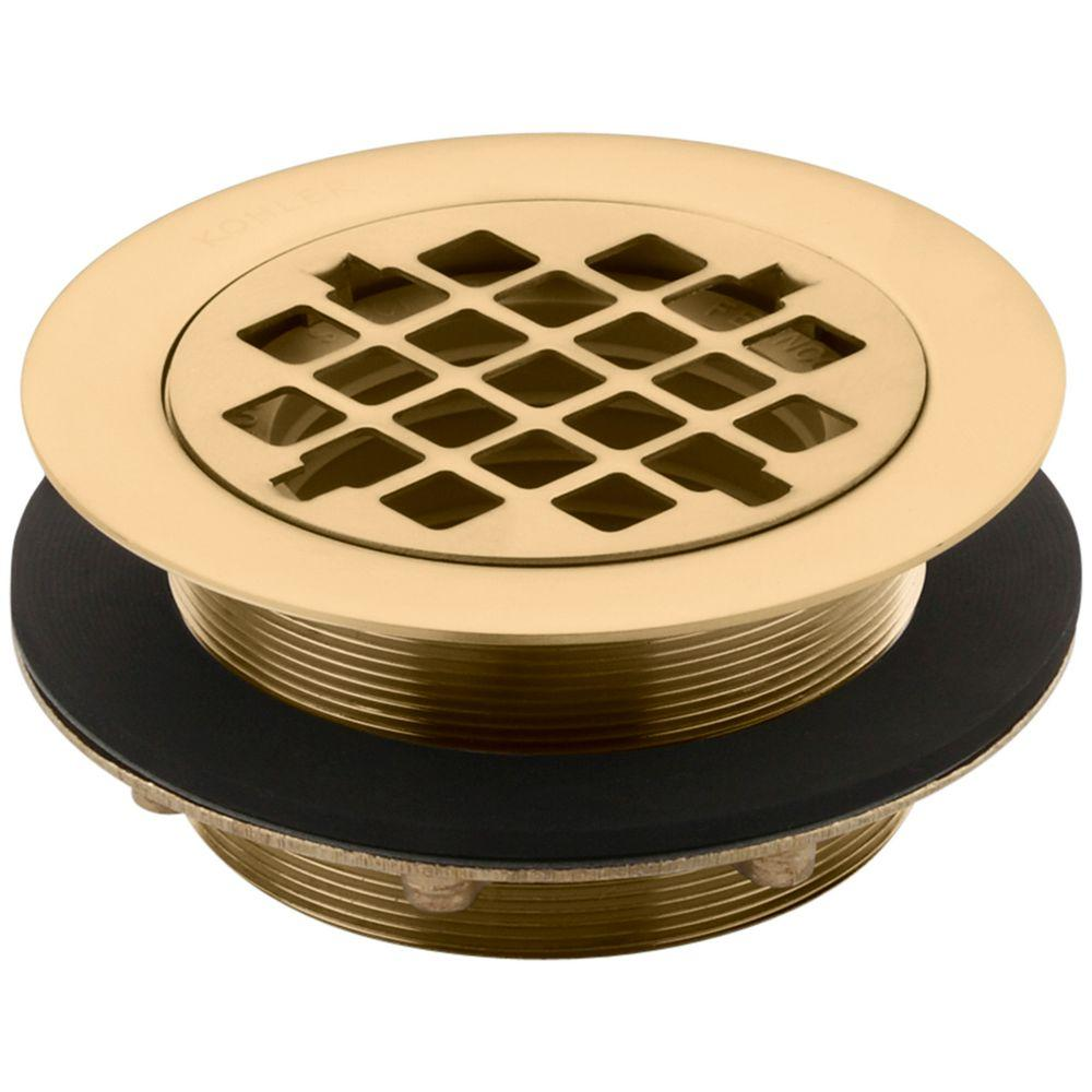 KOHLER 4 3/8 In. Round Shower Drain In Vibrant Moderne Brushed Gold