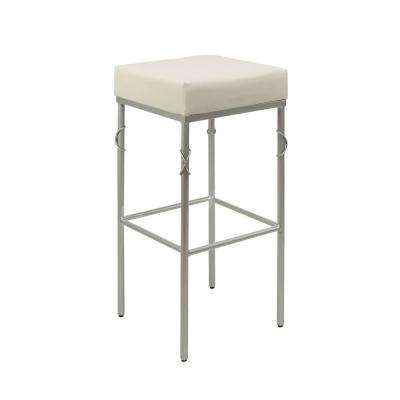 Gwyneth 24 in. White Upholstered Square Backless Metal Barstool