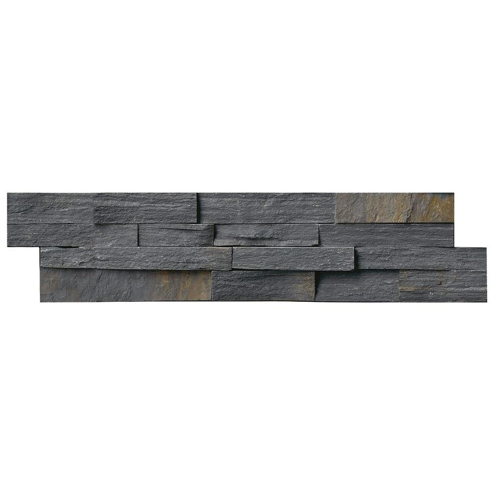 MS International Charcoal Rust Ledger Panel 6 in. x 24 in. Natural ...