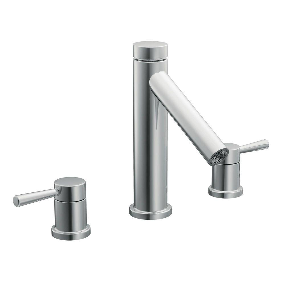 MOEN Level 2-Handle Deck-Mount Roman Tub Faucet Trim Kit in Chrome (Valve Sold Separately)