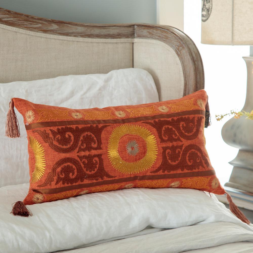 Ohara Suzani Lumbar Toss Pillow with Tassels