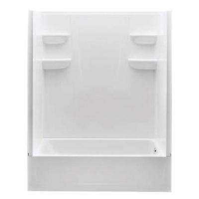 A2 30 in. x 60 in. x 76 in. Right Hand Drain 4-Piece Direct-to-Stud Tub/Shower Wall with Grab Bar Backing in White