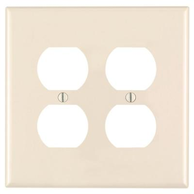 2-Gang Midway Duplex Outlet Nylon Wall Plate, Light Almond