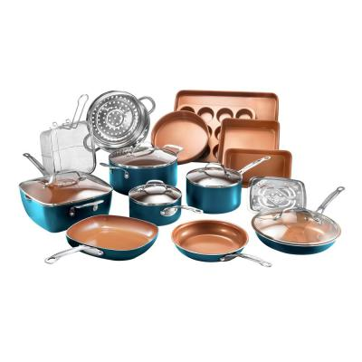 20-Piece Aluminum Non-Stick Ti-Ceramic Cookware with Lids and Bakeware Set