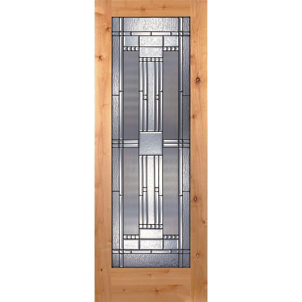 Feather River Doors 28 in. x 80 in. Preston Patina Woodgrain 1 Lite Unfinished Knotty Alder Interior Door Slab