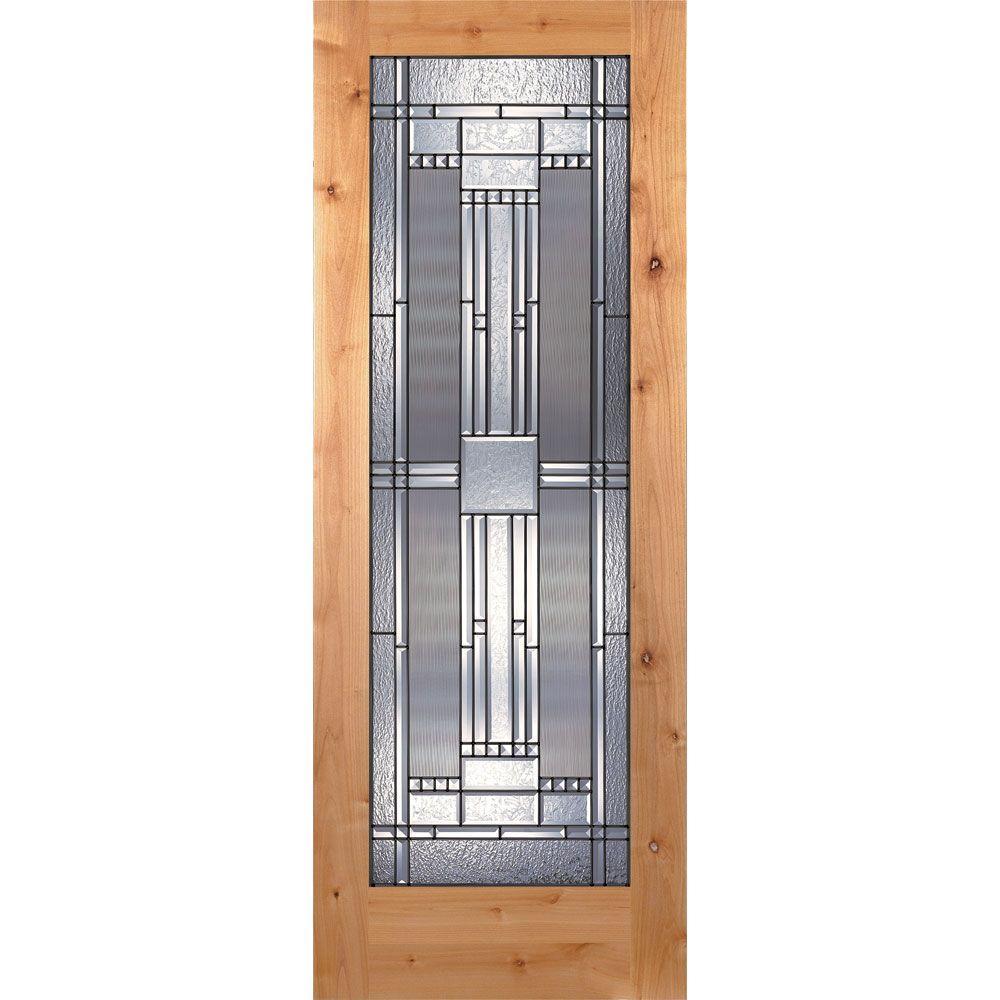 Feather River Doors 30 in. x 80 in. 1 Lite Unfinished Knotty Alder Preston Patina Woodgrain Interior Door Slab