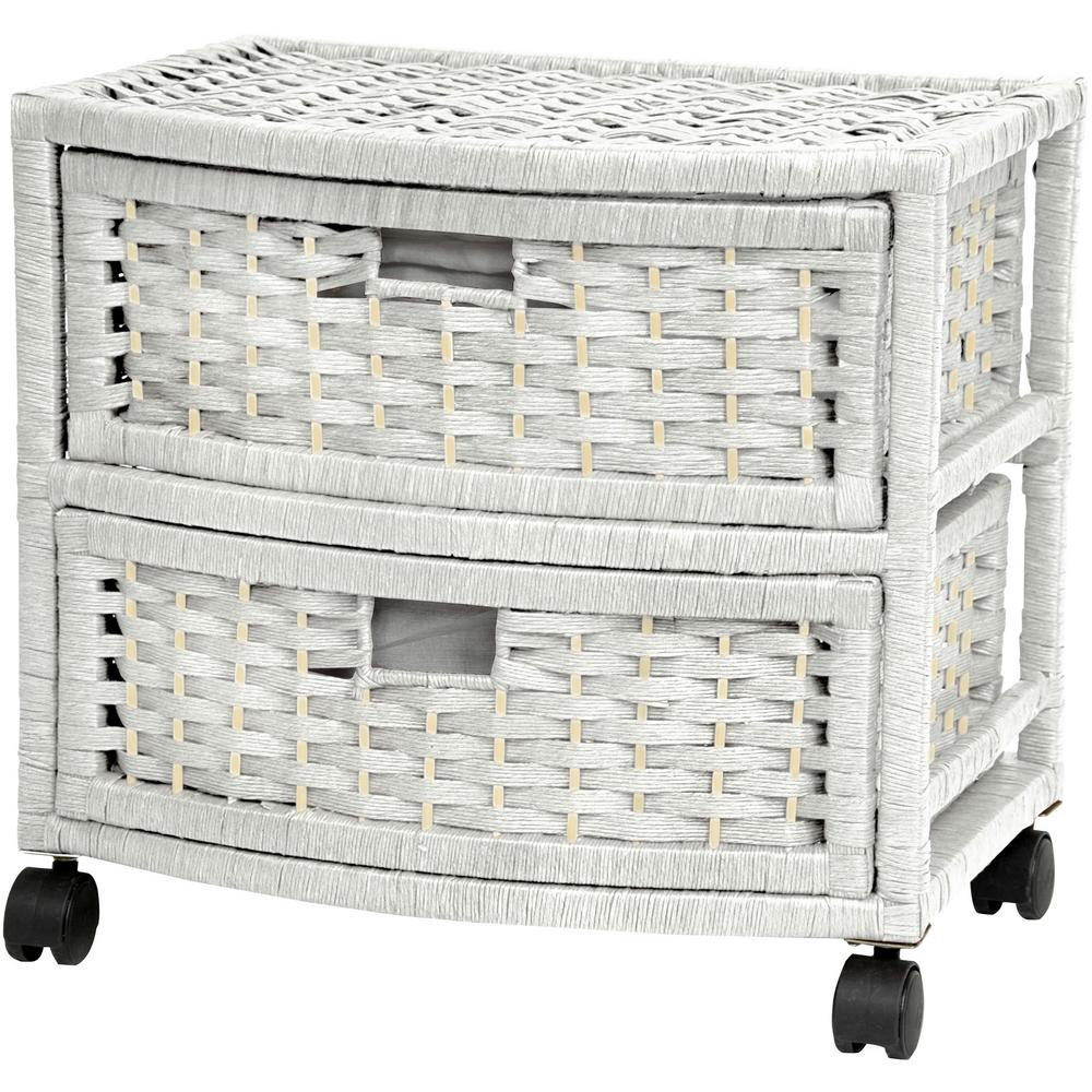 2-Drawer White Natural Fiber Trunk