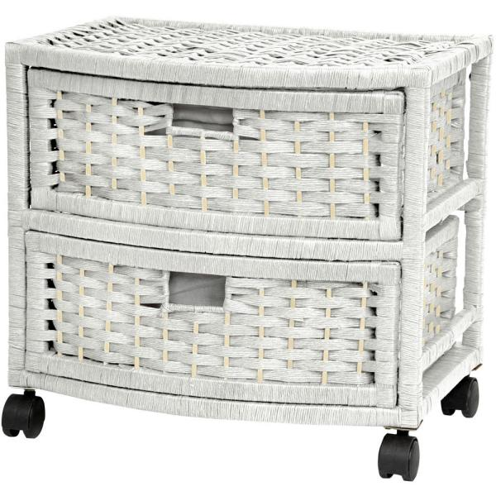 Oriental Furniture 2-Drawer White Natural Fiber Trunk JH09-051-2-WHT