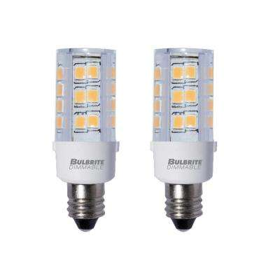 35-Watt Equivalent T4 Dimmable Candelabra LED Light Bulb Soft White (2-Pack)