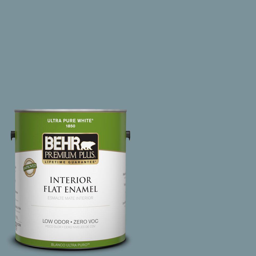 BEHR Premium Plus 1-gal. #PMD-55 Silent Tide Zero VOC Flat Enamel Interior Paint-DISCONTINUED
