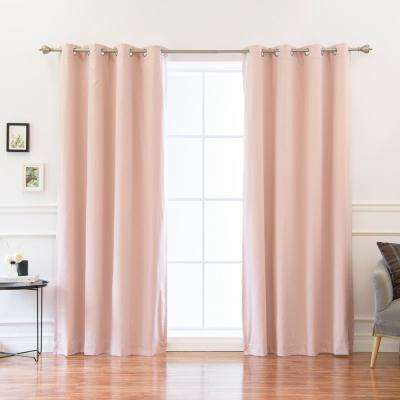 84 in. L Solid Cotton Blend Blackout Curtains Pink (2-Pack)
