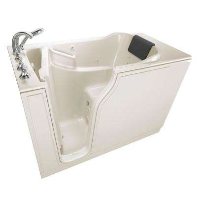 Gelcoat Premium Series 52 in. x 30 in. Left Hand Walk-In Whirlpool and Air Bathtub in Linen