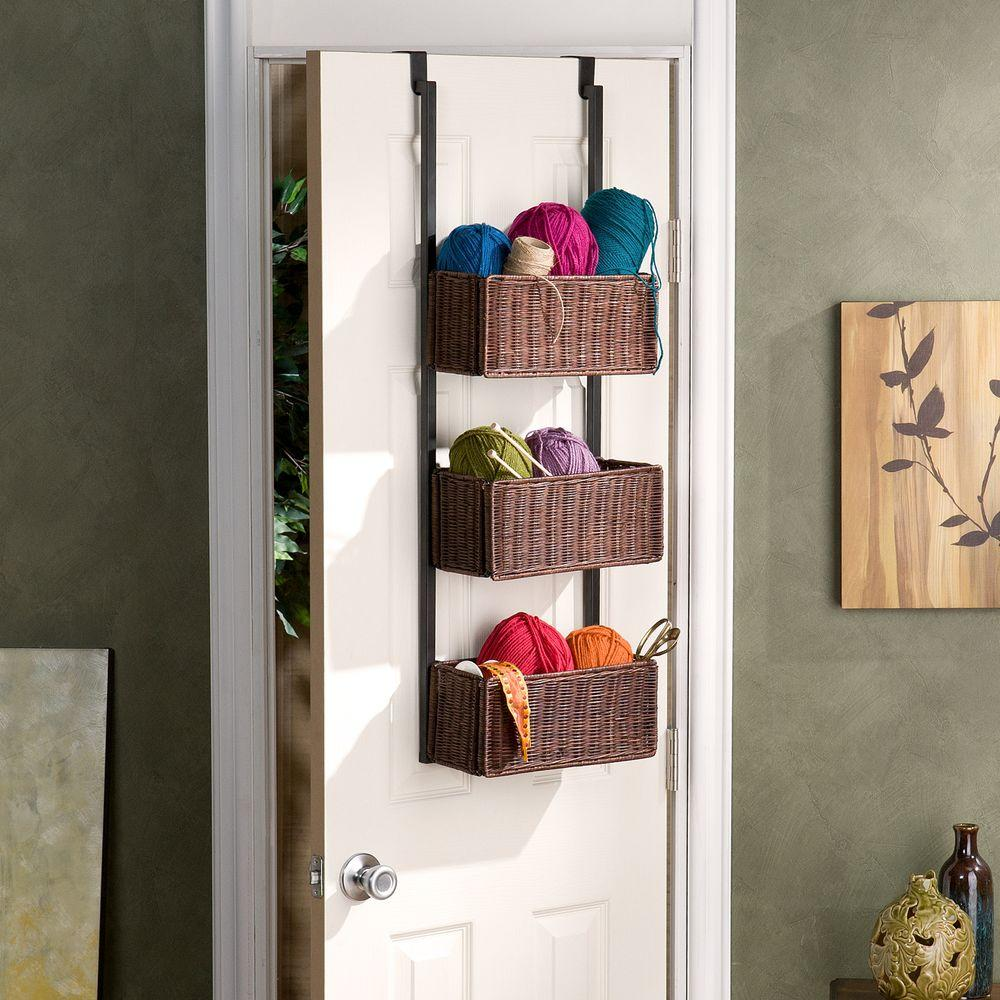 Southern Enterprises Willard Over-the-Door 3-Tier Basket Storage in Espresso with : door basket - Pezcame.Com