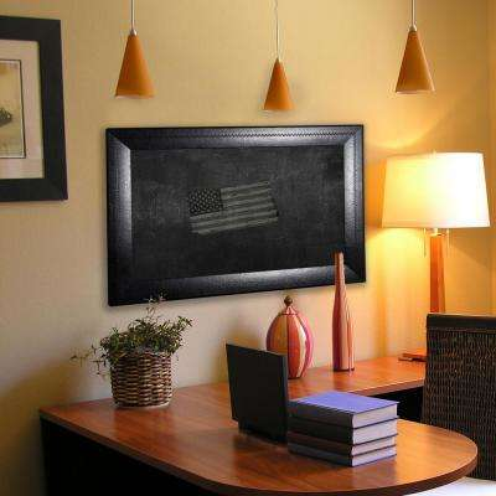 53.75 in. x 35.75 in. Stitched Black Leather Blackboard/Chalkboard