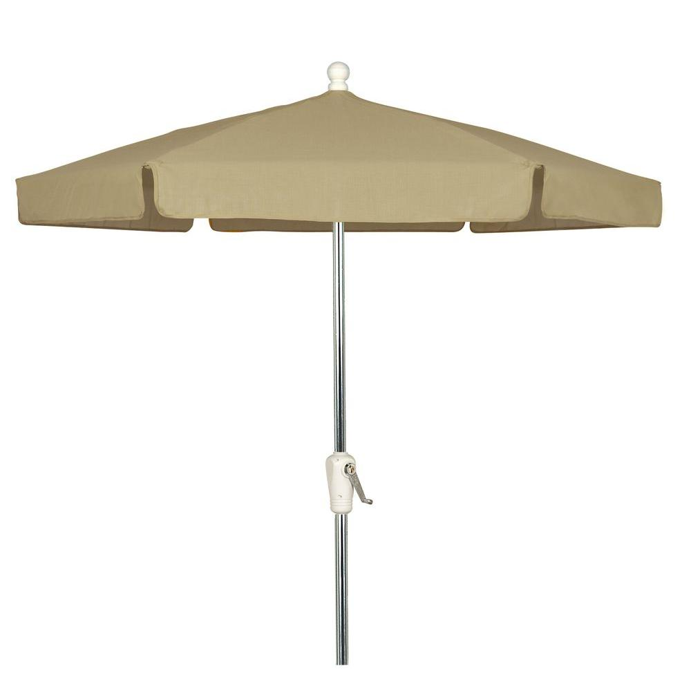 7.5 ft. Aluminum Patio Umbrella with Beige Vinyl Coated Weave