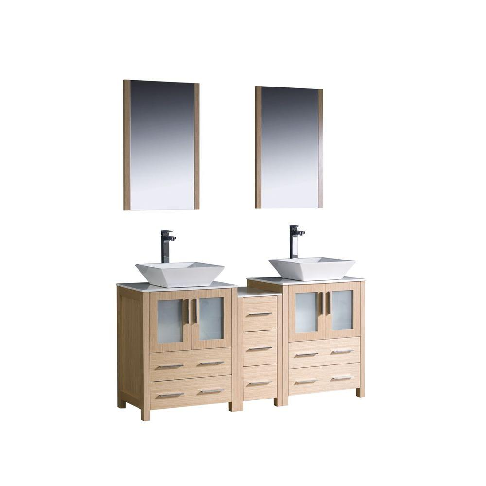 Torino 60 in. Double Vanity in Light Oak with Glass Stone