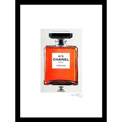 "30 in. x 24 in. ""Orange Chanel No. 5"" by Fairchild Paris Framed Print Ad Wall Art"