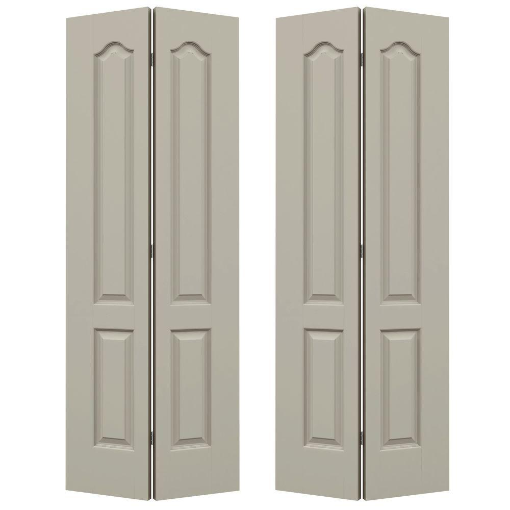 JELD-WEN 72 in. x 80 in. Princeton Desert Sand Painted Smooth Molded ...