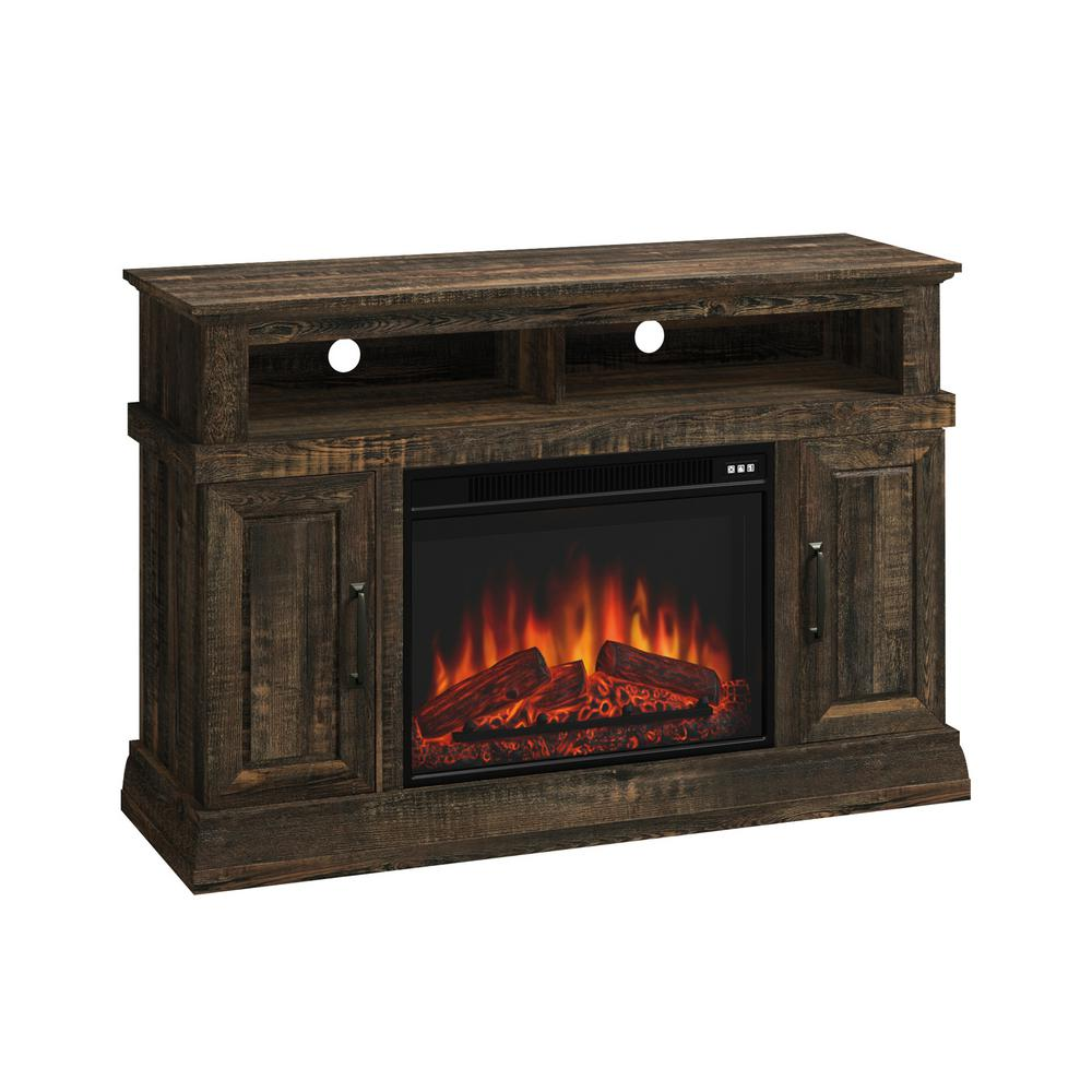 SAUDER 47.48 in. Carbon Oak Rectangle Engineered Wood TV Console with Fireplace, Carbon Oak®