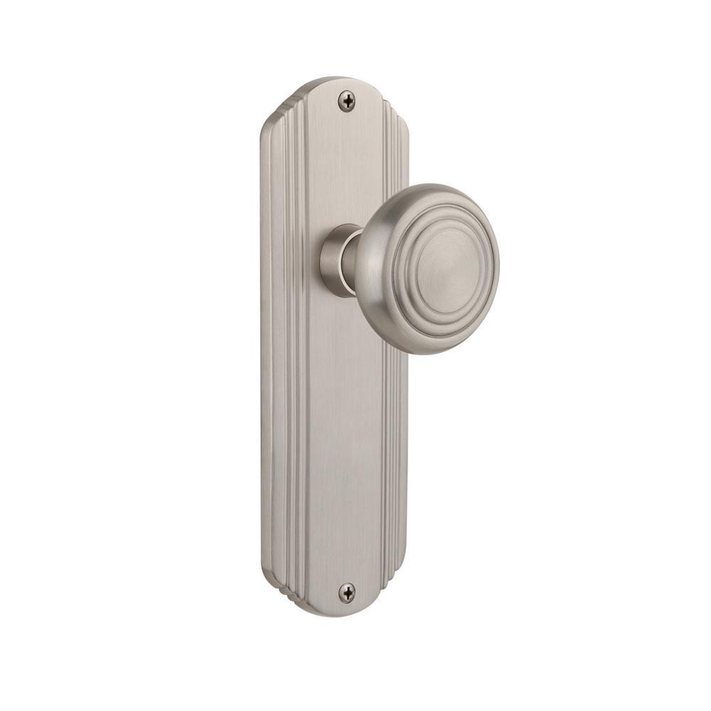 Deco Plate 2-3/4 in. Backset Satin Nickel Privacy Deco Door Knob